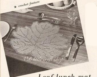 Leaf lunch mat crochet pattern. Instant PDF download!