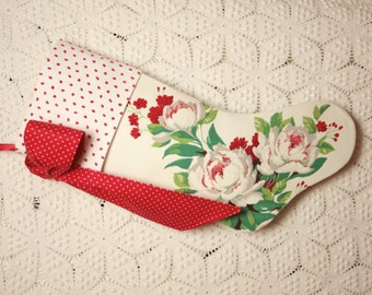 Gorgeous Peonies Wilendur Vintage Tablecloth Stocking with Swiss Dot Chenille Cuff and Big Bow