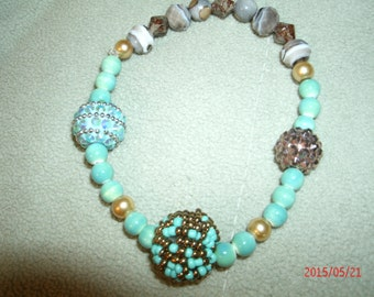 Turquoise and Caramel Color Beaded Bracelet
