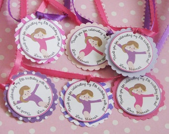 Gymnastics Favor Tags Pinks and Purples
