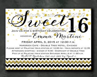 Gold Dot - Black and Gold Party Sweet 16 - Bridal Shower - Engagement - Birthday - Retirement - PERSONALIZED PRINTED INVITATIONS