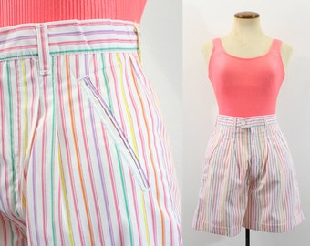 1980s High Waisted Shorts High Rise Candy Stripe Rainbow White Pink Cuffed Vintage 80s Waist Cotton Pleated Retro Pockets Striped Small S