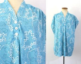 1970s Shirt Boho Tunic Blouse V Neck  Smock Top Hippie Blue Floral Vintage 70s Wispy Pullover Drop Shoulder Cap Sleeves Long Billowy Large L