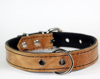 """1"""" Brown Leather Dog Collar,  Brown Rustic Leather Dog Collar, Heavy Duty Leather Collar, Brown Leather Dog Collar, (Made In USA)"""