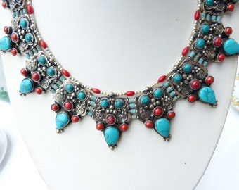 Vintage Nepalese Turquoise and Coral Necklace