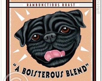 8x10 Black Pug Art - Grunting Pug Coffee  -  Art print by Krista Brooks