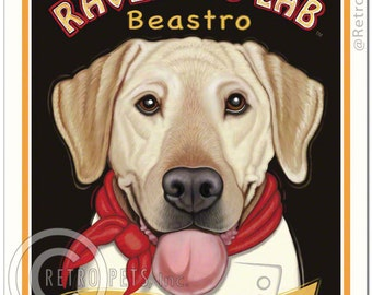 8x10 Yellow Lab Art - Ravenous Lab Beastro - Home of the Bottomless Bowl - Art print by Krista Brooks