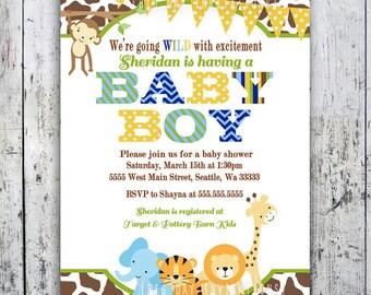 Safari baby shower invitations jungle baby shower safari baby shower invitations jungle animal theme printable invite for boy or girl birthday filmwisefo