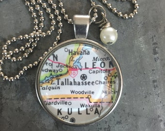 Map Pendant Necklace Tallahassee Florida FL