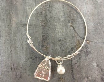 Arch Cross charm bangle bracelet