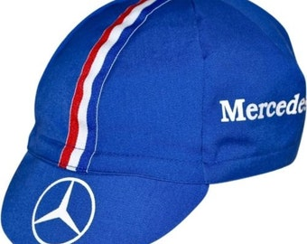 MERCEDES BENZ Vintage 1988 Vintage Boston Marathon Running & Cycling Hat Cap Blue Striped