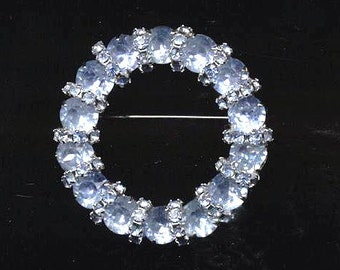 Vintage Zakian Signed Circle Brooch Prong Set Blue Stones  60s Free ship In US