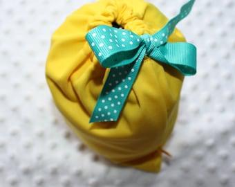 "6.5""x8.5"" Small Wet Bag- Yellow Waterproof Bag- Yellow PUL fabric w dot ribbon- Cloth Diaper Wet Bag- Small Swim Bag- Potty Training"