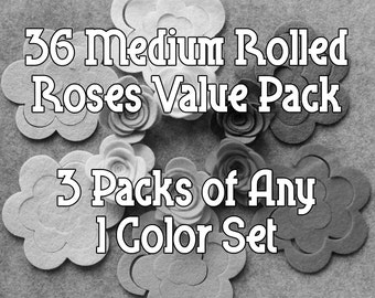 Design Your Own - Felt Value Pack - 36 Unassembled Medium Rolled Roses - 3D Rosettes