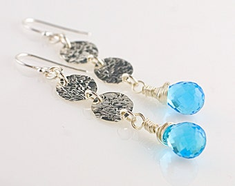Blue Quartz and 2 Hammered Sterling Discs Earrings