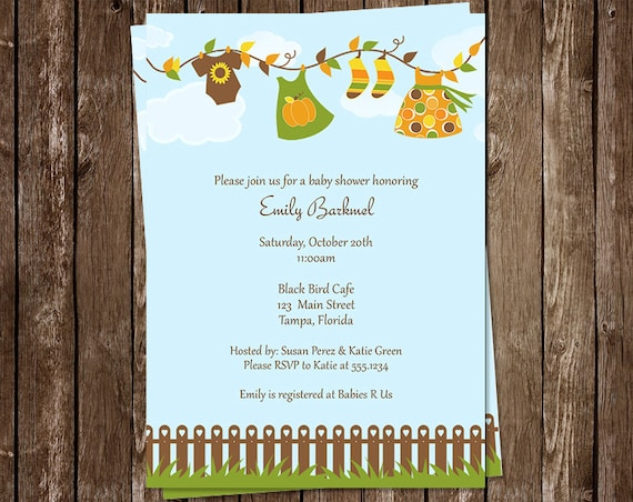 Baby Shower Invitations, Sprinkle, Laundry, Fall, Clothes, Autumn, Line, Orange, Girls, 10 Printed Invites, FREE Shipping, Customizable