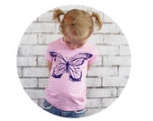 Butterfly Graphic Tshirt For Girls, Fitted Toddler and Youth Tee Shirt, Hand Screenprinted Pastel Pink Short Sleeved Spring Gardening Insect