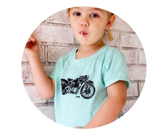 Toddler Tshirt, Vintage Motorcycle  in toddler and childrens sizes,Pastel Mint Green, Hand Printed, Youth Clothing, Crewneck Cotton Shirt