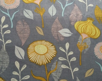Timber and Leaf by Sarah Watts for Blend fabric, gerbera daisy grey yellow fabric yardage, rare OOP