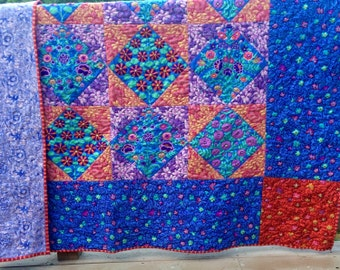 Hand quilted Bed quilt with  Kaffe Fassett fabrics, original design, double quilt, twin quilt queen quilt, floral quilt