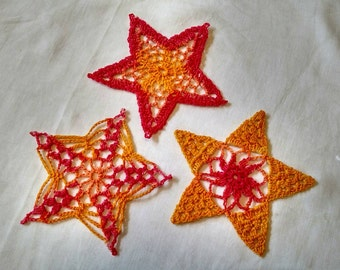 Crocheted Star Ornaments Set of 3