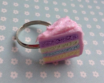 Pretty pastel pink layer cake silver plated adjustable ring