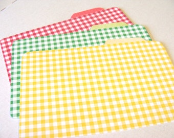 Gigham Recipe Dividers - Set of 6 - Retro Gingham Dividers - Vintage Kitchen - Red Yellow Green- - Cooking Cards - Kitchen Gift