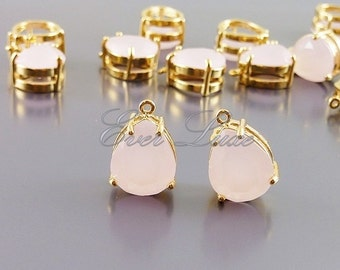 2 pink ice faceted teardrop glass charms in brass setting, wedding / bridal jewelry, accessories 5067G-PI (bright gold, pink ice, 2 pieces)
