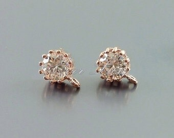 2 rose gold round crystal CZ Cubic Zirconia stud earrings, supplies for earring making E1632-BRG (bright rose gold, earrings 2 pieces)