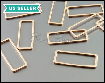 4 matte rose gold brass rectangle 24mm charms for jewelry, dainty rectangle bars 1011-MRG-24