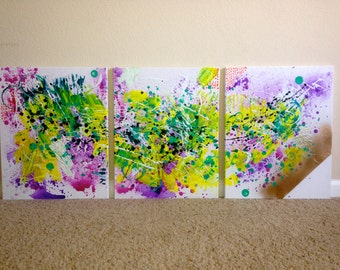 3 Piece Abstract Acrylic Painting