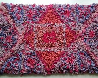 Rag Rug, Floor rug, upcycled rug,rag rug mat, wool rag rug, rectangular rug,floor rug,proddy rug