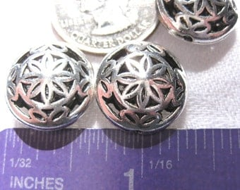 Round circle Spacer Bead Tibetan Silver Jewelry Supply 2 pieces