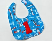 TODDLER Bib 1st First Birthday Baby Bib, Dr Seuss Cat in The Hat, Triple Layer Feeding, made from Dr Seuss fabric