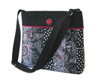 Black Fabric Crossbody Purse - Black Messenger Bag - Black and Red Shoulder Bag - Hobo Bag - Medium Purse - Cross Body Bag - Black Purse