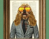 The Cocker Spaniel dude of summer dog in a suit beautifully upcycled vintage dictionary page book art print