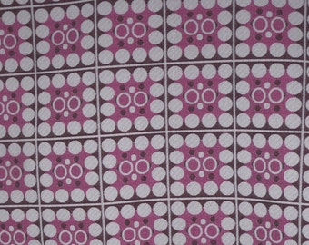1 and 1/2 Yards 1960s Vintage Pink and Brown Circle in a Square Polyester Fabric ~Groovy~