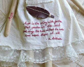 Hope - Poetry Doll - Cloth Art Doll - Rag Doll