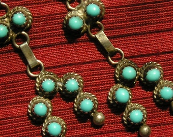 Zuni Sterling Silver Snake Eyes Turquoise Naja Dangle Earrings