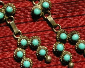Zuni Sterling Silver Snake Eyes Turquoise Naja Dangle Earrings