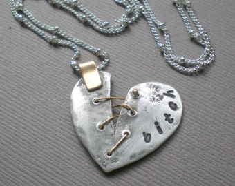 Chic Bitch Heart Necklace. Broken Heart Pendant. GIFT. Best Bitch - Best Friends. Sister to Sister.