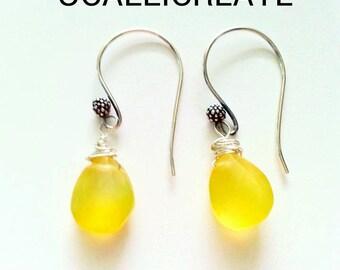 Lemon Drops - Lemon Quartz Earrings - Yellow Earrings - Lemonade - Sterling Silver Earrings - Bright Yellow - Handmade Jewelry - Gifts