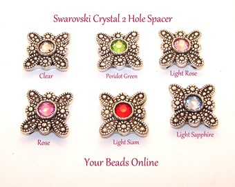 Swarovski Crystal 2 Hole Spacers Assorted You Pick a Color Clear, Light Siam, Light Rose, Light Sapphire, Peridot Green, Rose