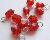 10 - Handmade 6mm Czech Bead Dangles-Charms Ruby