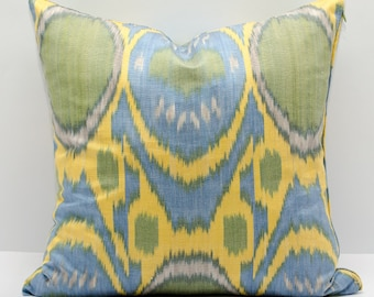 15x15 ikat pillow cover, yellow blue pillow, yellow blue ikat, ikats from manufacturer, best prices for ikat