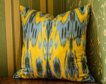 15x15 blue yellow ikat pillow cover, ikat, blue pillows, yellow blue pillow cover cushion case, sofa pillows