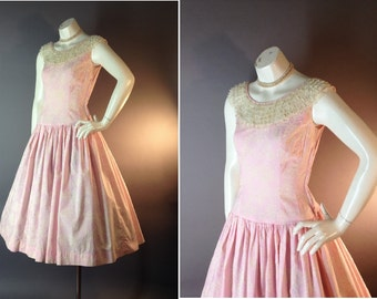 50s dress 1950s vintage PINK WHITE PRINT embroidery lace cupcake cotton party full skirt dress