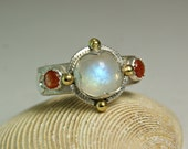 Rainbow Moonstone Gypsy Ring, Summer Solstice Compass Ring, Crescent Moon Jewelry, custom sized