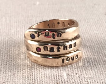 Personalized Ring Birthstone Ring 14K Gold Filled Ring Mother Ring Personalized Wrap Ring Name Ring Hand Stamped Ring