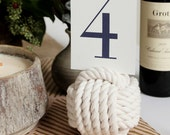 Nautical Monkey Fist Table Card Holder White Rope 5 Across No Roll Number Holder